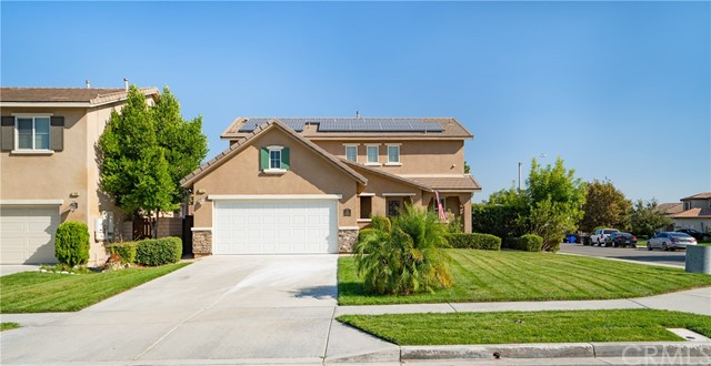 """Welcome to this Beautiful home located in the Desirable Community of Rosena Ranch! As you enter you are greeted by the Newly installed High-End Laminated Floors and the Freshly Painted Interior! The Kitchen has been Wonderfully Designed with Granite Counter Tops, Butler's Pantry (Behind the Kitchen), A Dry Bar Area, Stainless Steel Sink and the Perfect Sized Island that opens up to the Family Room Creating the Ideal Open Floor Plan. The Backyard Has a Jacuzzi/ Spa and Newly Installed Pet-Friendly low Maintenance Artificial Grass that surrounds the Alumawood Patio. The Patio Features a Barbecue Island with Custom Concrete Floors as Well as a Wall Mounted Television Designed for Maximum Entertainment... Upstairs your find Master Suite with Large Master Bath, Dual vanity sinks, New Tile Floor and Spacious Walk-in-Closet. Laundry Room is Located Upstairs for your Convenience. Solar Panels have been installed to help reduce energy costs. """"The Nest"""" Thermostats located both upstairs and downstairs. Walking distance to the Community Sports Park and State-of-the-Art Recreation Center Facility which includes a pool, splash park, picnic area, fitness center, clubhouse, and much more! Minutes"""