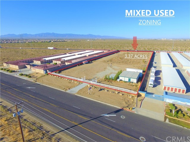 """PRIME DEVELOPMENT OPPORTUNITY! OWNER IS RETIRING! GATED IN FRONT AND SURROUNDED BY 2 FULLY DEVELOPED AND OPERATING STORAGE LOCATIONS. CURBS, DRIVEWAY, GATE AND NEIGHBORING FENCES ALREADY IN PLACE!  3.37 ACRES OF FLAT COMMERCIAL LAND. COMES WITH A 1,440 SQFT MANUFACTURED STRUCTURE (CONFERENCE ROOM + 2 ROOMS) ON SITE, CONCRETE PADS  AND 2 CARGO CONTAINERS.  **ELECTRICITY CONNECTED*! WATER AND GAS ON THE STREET.  ZONNED """"MU"""" (MIXED USED) BY THE CITY OF ADELANTO, THIS LOT NOT ONLY COMES WITH TONS OF PERMITTED POTENTIAL USES BUT IS LOCATED ON NEWLY REPAVED ADELANTO RD AND HAS THE 395 HWY ON THE BACK.  TREMENDOUS EXPOSSURE FROM THE 395 HWY AS WELL AS FROM THE STREET.   YOU ARE WELCOME TO DRIVE BY IT OR WE CAN OPEN THE GATE FOR YOU AND SHOW YOU INSIDE WITH AN APPOINTMENT.  CALL AGENT FOR DETAILS.  ALL INFO PROVIDED IS RELIABLE BUT NOT GUARANTEED."""