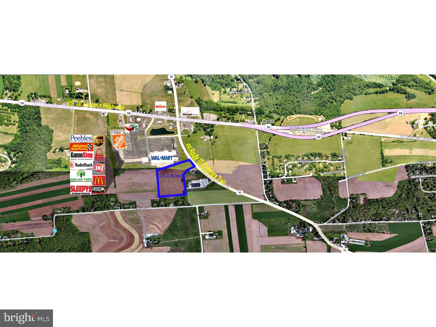 15.52 Acres Commercially-Zoned Land for Sale - Development Opportunity along strong retail corridor of US30/PA10 in Parkesburg, PA. This parcel is located just south of WalMart traffic light intersection and directly across from new in-progress retail development. See W Sadsbury Township Zoning Dept for approved uses. Great visibility, high-traffic counts. Adjoining parcel #3370300010100 is also available for sale (14.69 acres/fronts on PA10 as well).