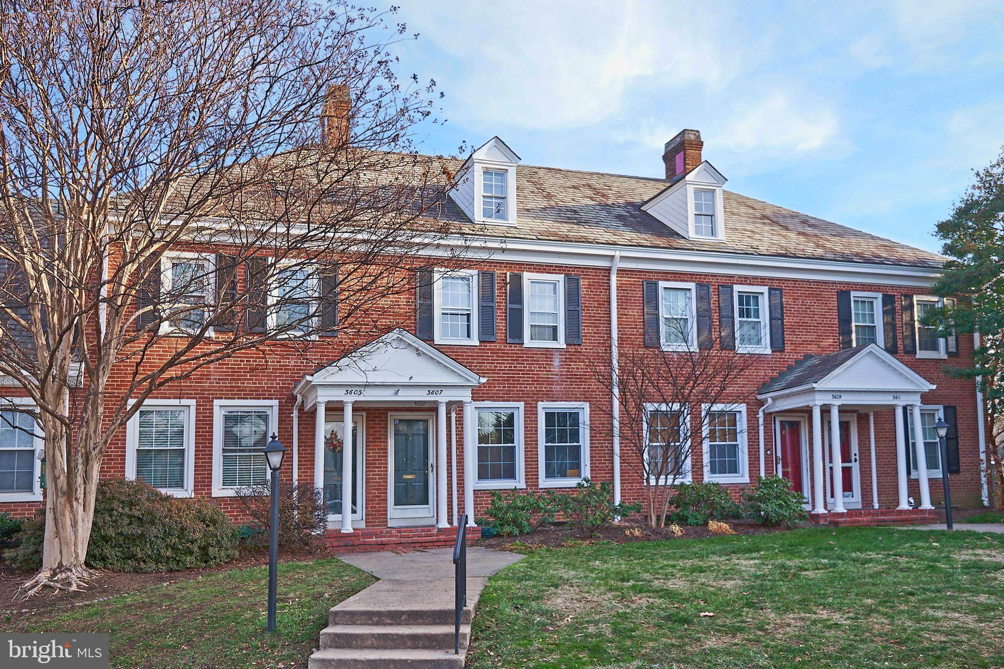 This gorgeous Clarendon model home in the sought after historic community of Fairlington Arbor is the nicest unit on the market for many reasons.  This unit boasts a rare assigned parking space.  The parking space is a large spot on the end of the row for those particular about their vehicle!  Most importantly, this home boasts the very rare large attic with dormer window.  Owners have converted these huge attics into additional bedrooms and bathrooms.  This is one of the most sought after floor plans and they rarely came to market.  Last most comparable unit with this attic sold for $610K.  Original floors on main and upstairs just refinished with a gorgeous dark walnut stain.  Home has been fully repainted in neutral grays from Sherwin Williams with softer hues in bedrooms.  Upstairs master bedroom boasts exquisite crown moldings walk-in closet and second closet.  Upstairs bath features mosaic floor tile, subway tile bath, brushed brass fixtures, navy vanity with marble top.  Kitchen features alabaster cabinets with navy island, top of the line imported quartz counters, and Samsung black stainless appliances.  Basement features recessed lighting, water resistant laminate floors, new stacked washer/dryer, and luxury bathroom.  The bathroom features an expansive shower with marble floor, white subway tile, and black fixtures.  Gray vanity, mosaic tile floor, and bluetooth speaker/exhaust fan add to the appeal of this gorgeous home.  New HVAC with smart thermostat allows you to control your home temperature from anywhere.  This home does not have the asbestos popcorn ceilings found in most of Fairlington.  All updates were done with great attention to detail and finest craftsmanship for the most discerning buyer!  It was worth the wait, you've finally found your dream home in Fairlington! Owner is agent.