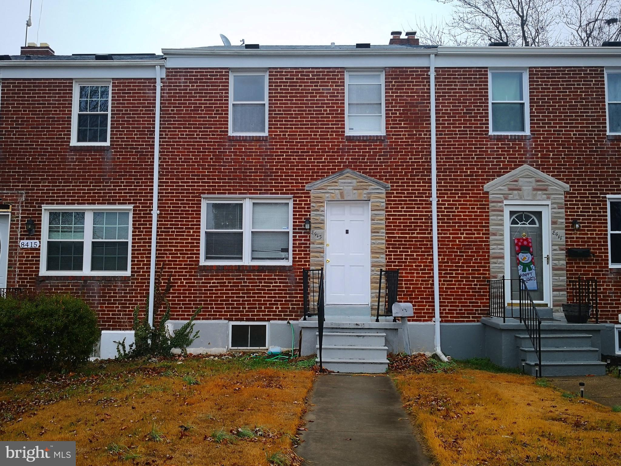 Back on market because the  loan didn't go through. Great location for living (close to Towson )  and investment properties. 3 bedrooms and 1.5 baths brick townhouse for sale. Finished basement. Solid condition and needs some work. Sold as-is.