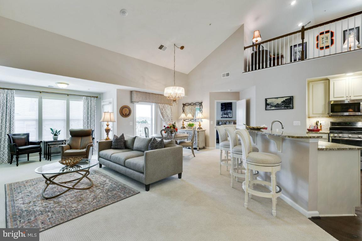 Beautifully decorated 55+ Penthouse Condo with Loft and Vaulted Ceiling.  This Open Floor Plan Condo