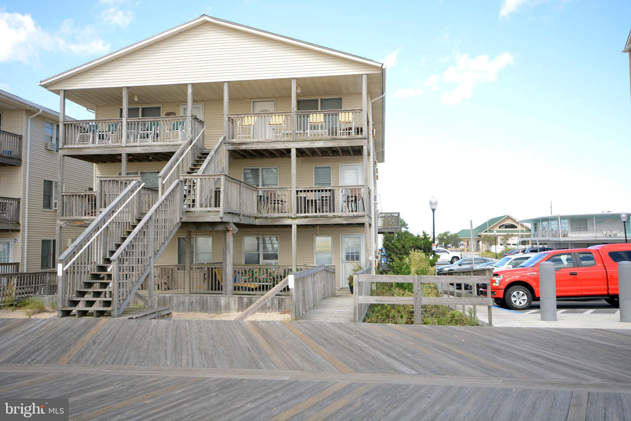NOT OFTEN YOU GET THE OPPORTUNITY TO GET A FRIST FLOOR CONDO NO THE BOARDWALK  2BD/2BATH. ENJOY THIS OCEANFRONT/BOARDWALK FRONT DIRECT ACCESS TO THE BEACH AND BOARDWALK. SIT ON YOU PORCHE AND WATCH THE BOARDWALK PROMENADE WHILE ENJOYING THE OCEAN BREEZES. ONE CAR PARKING IN THE BACK HAS A WASHER AND DRYER AND A REMODELED KITCHEN. WITH GRANITE COUNTERTOP AND KITCHEN ISLAND.   LOOKING FOR INVESTMENT THIS CONDO HAS GREAT RENTAL INCOME $23K IN SUMMER.