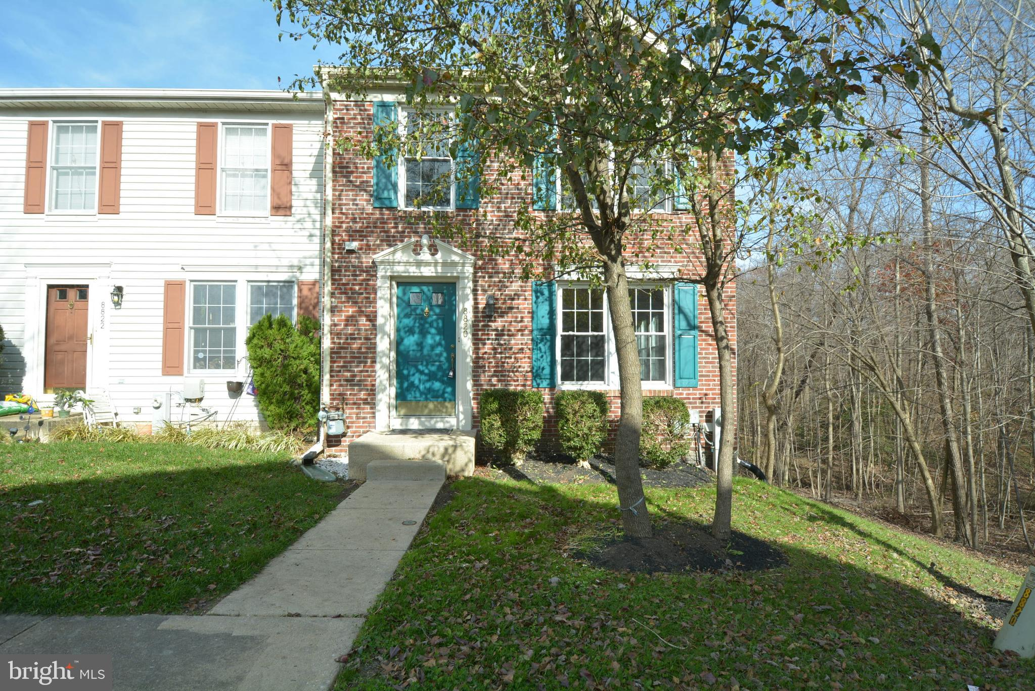 Recently renovated Gorgeous end unit town house w/Brick front backs to woods 3 BR., 2.5 BA; Deck ove
