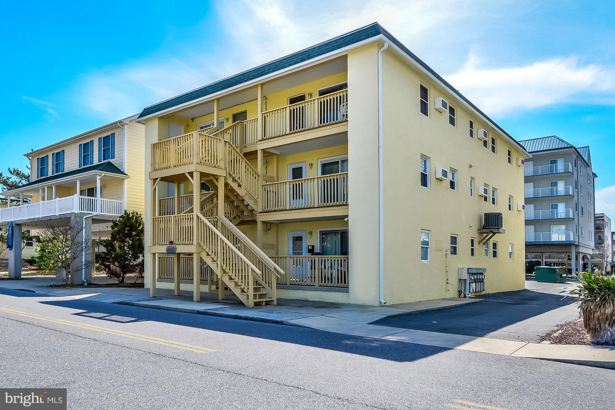 Great opportunity to own a convenient first floor 3 bedroom 2 bath Oceanside Condo.   Unit features ceramic tile floors, separate utility room w/full size washer dryer, central heat/air (new in last 2 years), outside storage closet, 2 car parking, LOW condo fees (2300 annually) & nice balcony.  Excellent rental income averaging $24K last 3 years.   Great location 42nd street oceanside.  Walk to numerous restaurants, convention center & close to Amusement Park and Boardwalk.