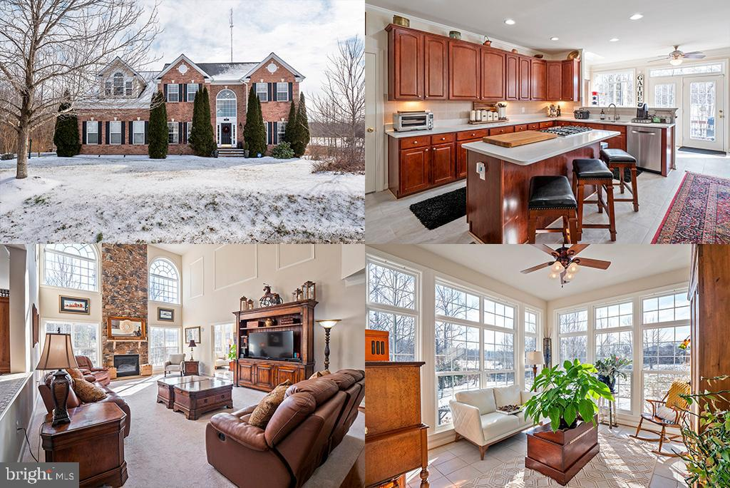 Gorgeous Estate Home on over 7 acres in desirable Christy Estates. Grand 2 story foyer flanked on ei