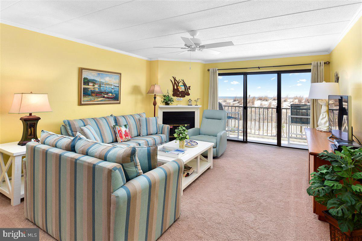 "Direct Oceanfront 3 Bedroom, 2 Bathroom condominium located in North Ocean City, MD.  Once you visit this property you will not want to leave!  Take in the serene views of the Atlantic Ocean from the large balcony with access from the living room and the primary bedroom.  The location on the ground floor allows for easy access without having to use the elevator.   Features include granite countertops with a breakfast bar in the kitchen for your visiting guests and upgraded cabinetry.  Sold fully furnished, this property is turn key.  Currently pre-booked with nine weeks rented for the 2021 season allowing the new owner the opportunity to immediately walk into over $30,000 of gross rental income.  The small condo association includes an outdoor pool, elevator, and two assigned parking spots on the surface lot.  The community is self-managed and has low condo fees at just $1,200 per quarter.  Recent upgrades to the amenities include new fencing around the pool in 2020.  Note: The wood burning fireplace is not functional and is sold ""AS-IS.""  Past gross annual rental income is as follows:  2018 - $32,753; 2019 - $29,965; 2020 - $21,370.  Buyer Must Honor Existing Rentals."