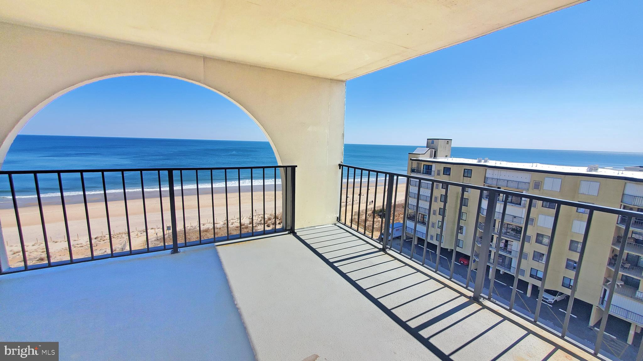 Ocean Views from every room is what you get in this Amazing south side DIRECT OCEANFRONT 2-bedroom 2-bathroom condo with multiple decks!  The second you walk in the condo you notice all the natural light, the additional sq ft and amazing Ocean/Bay/City skyline views! You are surrounded by natural light and the Spacious open floor plan. Spend your days on your covered oversized porch with room for entertaining and storage closet.  This unit has been well maintained with large living room, bar, full sized kitchen, and dining area.  Both bedrooms have views of the ocean with tiled floors and fully tiled bathrooms.  The building offers, secured access, three elevators, private lobby, onsite management, outdoor pool, oceanfront sundeck and shuffleboard.  Conveniently located close to shopping, restaurants, Ocean City Art league, tennis courts, dog park, entertainment, and grocery.  Call for a private showing today!