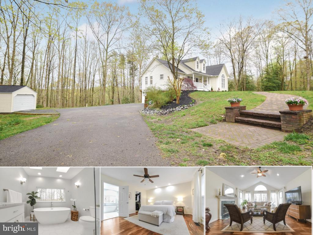 Breathtaking home situated on a wooded hilltop with 5.15 acres near the Patuxent river.  Upgrades in