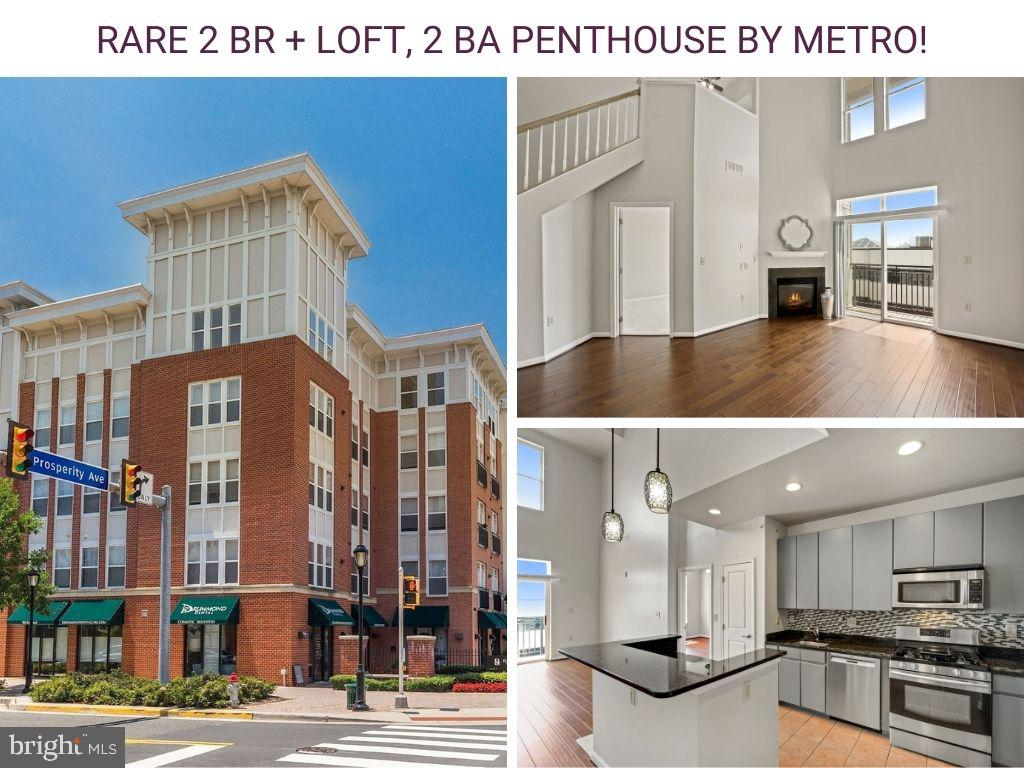Offer deadline: Monday 7pm. Rare find! This beautiful penthouse condo across from Dunn Loring Metro has 2 main level bedroom suites + LOFT (optional 3rd bedroom). Soaring 2 story ceiling in the living room with gas fireplace and sliding door to balcony. Open floor plan filled with natural light. New HVAC and water heater (2019). Updated hardwood flooring (2016). The gourmet kitchen boasts abundant updated cabinetry, gas cooking, stainless steel appliances (refrigerator and dishwasher 2018), granite countertops, backsplash, pantry and breakfast bar island with modern pendant lighting. The primary bedroom suite offers a walk-in closet and en suite bath with dual-sink vanity and oversized jetted tub. Second bedroom suite with ample closet space and access to dual entry bath. The sun drenched loft is perfect for a home office or 3rd bedroom and has a walk-in closet. Full size washer (2018) and dryer. 2 GARAGE PARKING SPACES (G4-038 and G5-057) & STORAGE SPACE (S-155). Best Buy Extended Protection Plan on washer and dishwasher through 2023 and refrigerator through Dec 2021. Halstead at the Metro is a secured, pet-friendly building with a spacious fitness center, outdoor pool, indoor basketball court, club room, meeting room/business center and sports pub. Condo fee shown includes garage parking fee of $18 per space. Prime location next to the Metro, Harris Teeter, restaurants, shops, approx. half mile Mosaic District, 3 miles to Tysons, about 14 miles to Amazon HQ2 and Washington, D.C. Easy access to I-66, I-495, Rt. 50, and Rt. 29 makes this a commuter's dream. This well-maintained home is ready for you to move in and enjoy! See Matterport 3D tour.