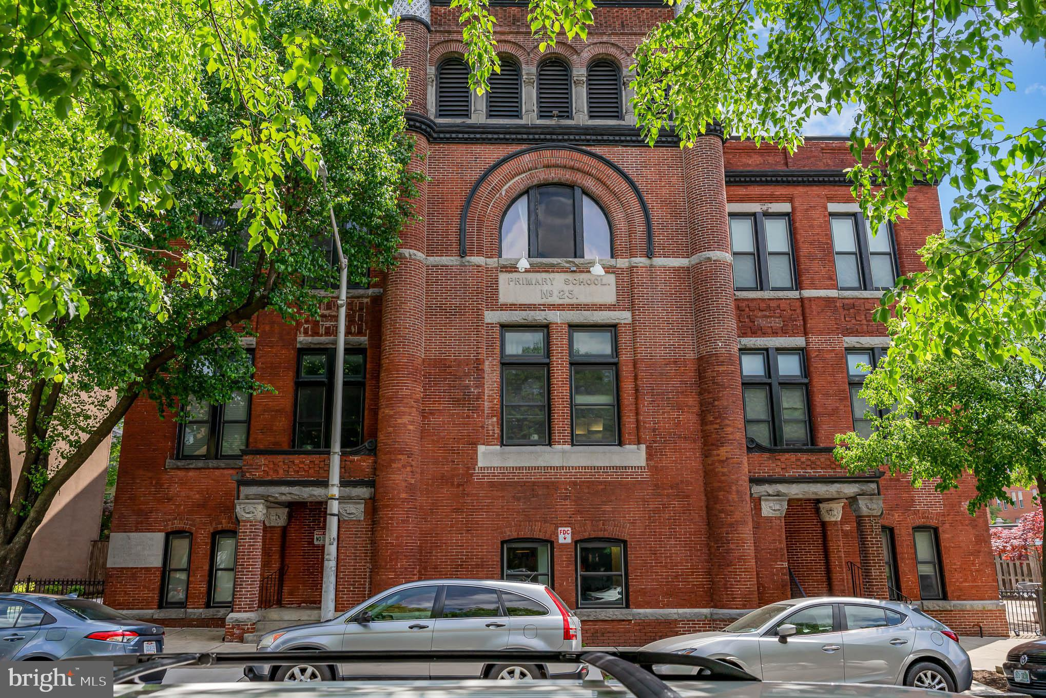 Most beautiful unit in a Baltimore landmark in the heart of Fells Point. Public school N 25 is a his