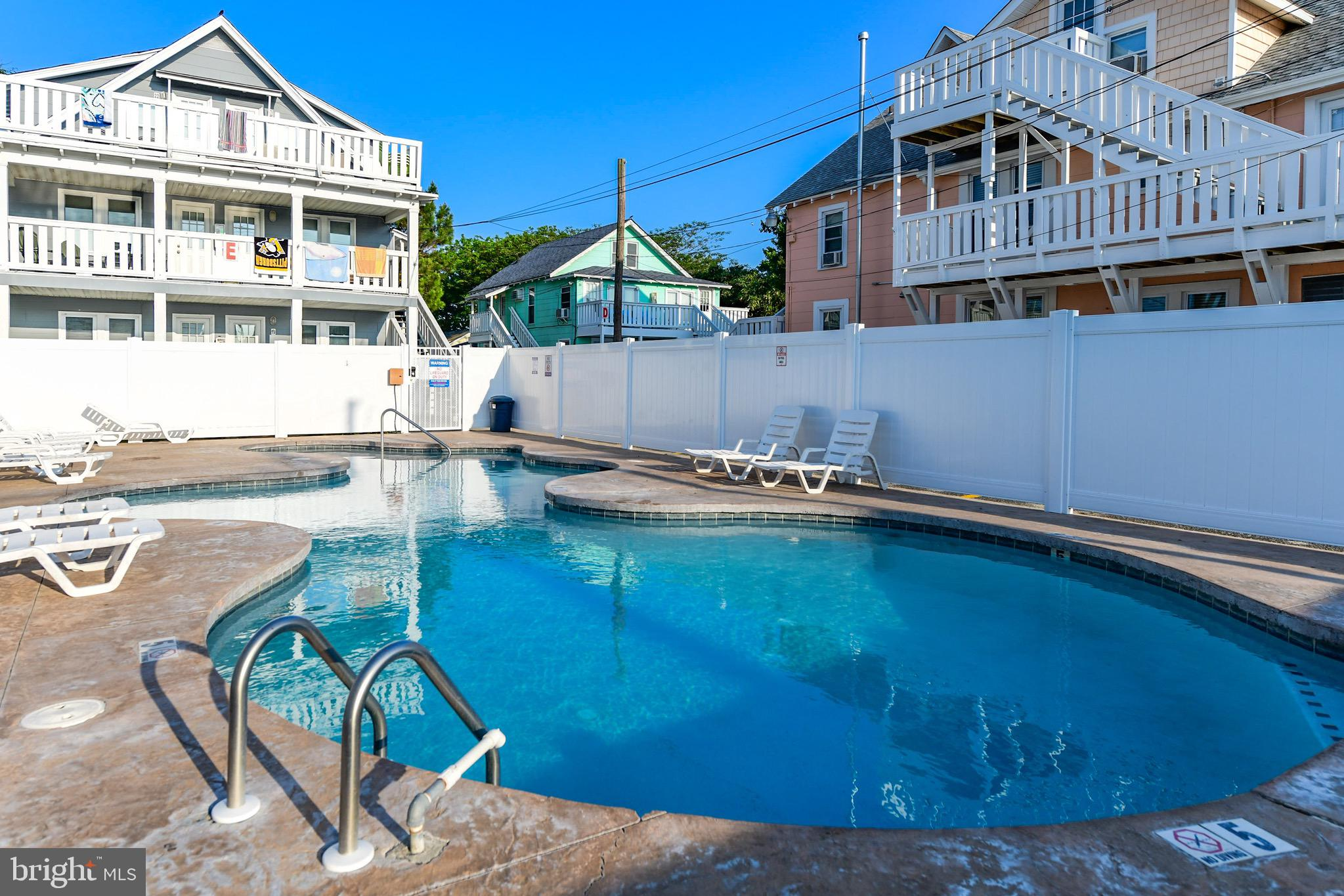 Cute Beach Cottage, 3rd Floor Unit, Pool, Sliver of a  Ocean and Boardwalk view Rear Deck, One Bedroom and 1 Full Bath, Combo Living Room and Kitchen, Rear and Side Entrance, Parking, Very Affordable Beach Getaway Spot, Located on the Top Floor, 2 Blocks to Beach and Boardwalk, Close Ocean City Ball Fields, Play Ground, Skate Park, Bayside Boardwalk. Best Buy in Ocean City !!! Condo Fee includes Cable TV