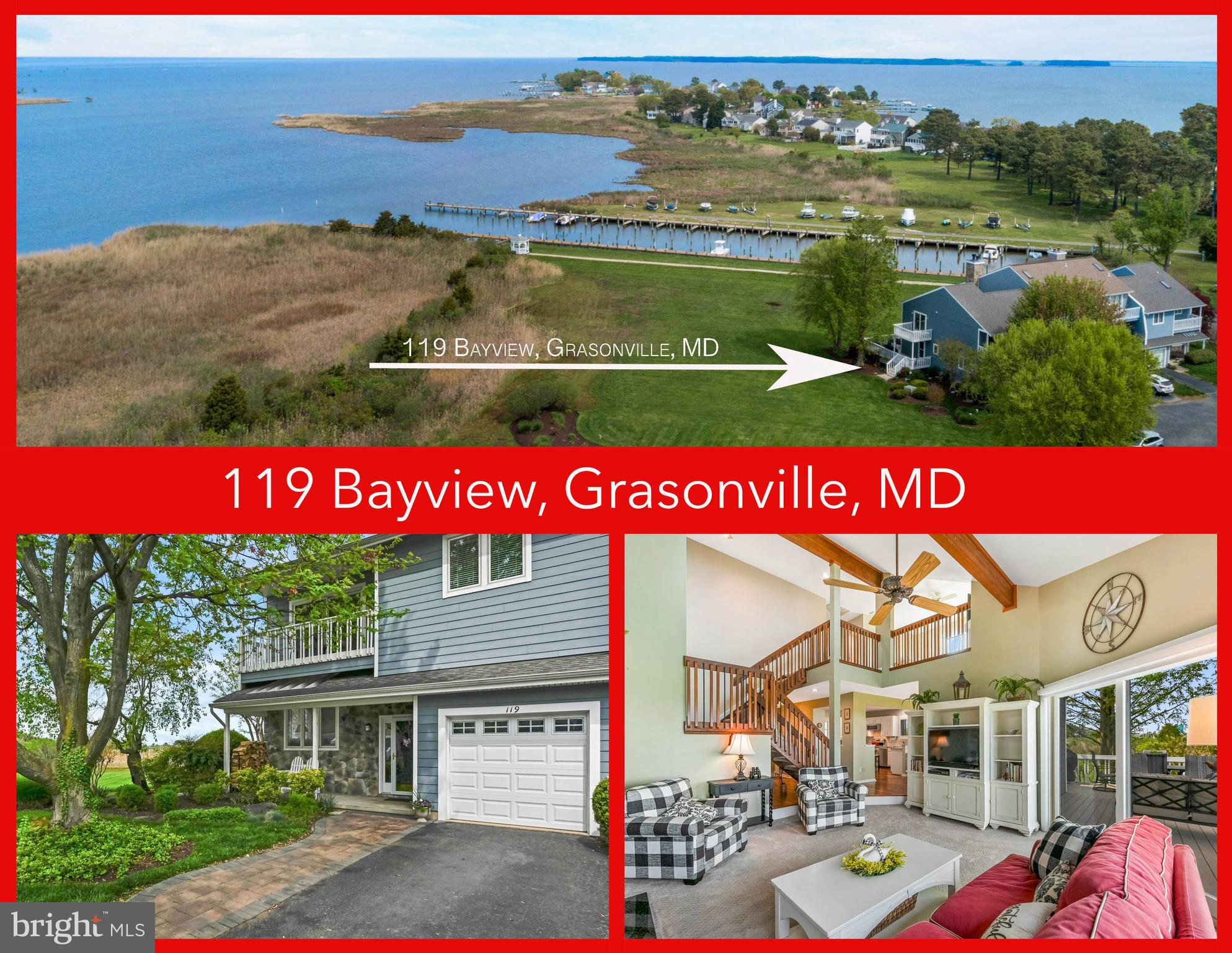 WATERFRONT * Located in the quaint Bayview At Kent Narrows community overlooking Muddy Creek and the