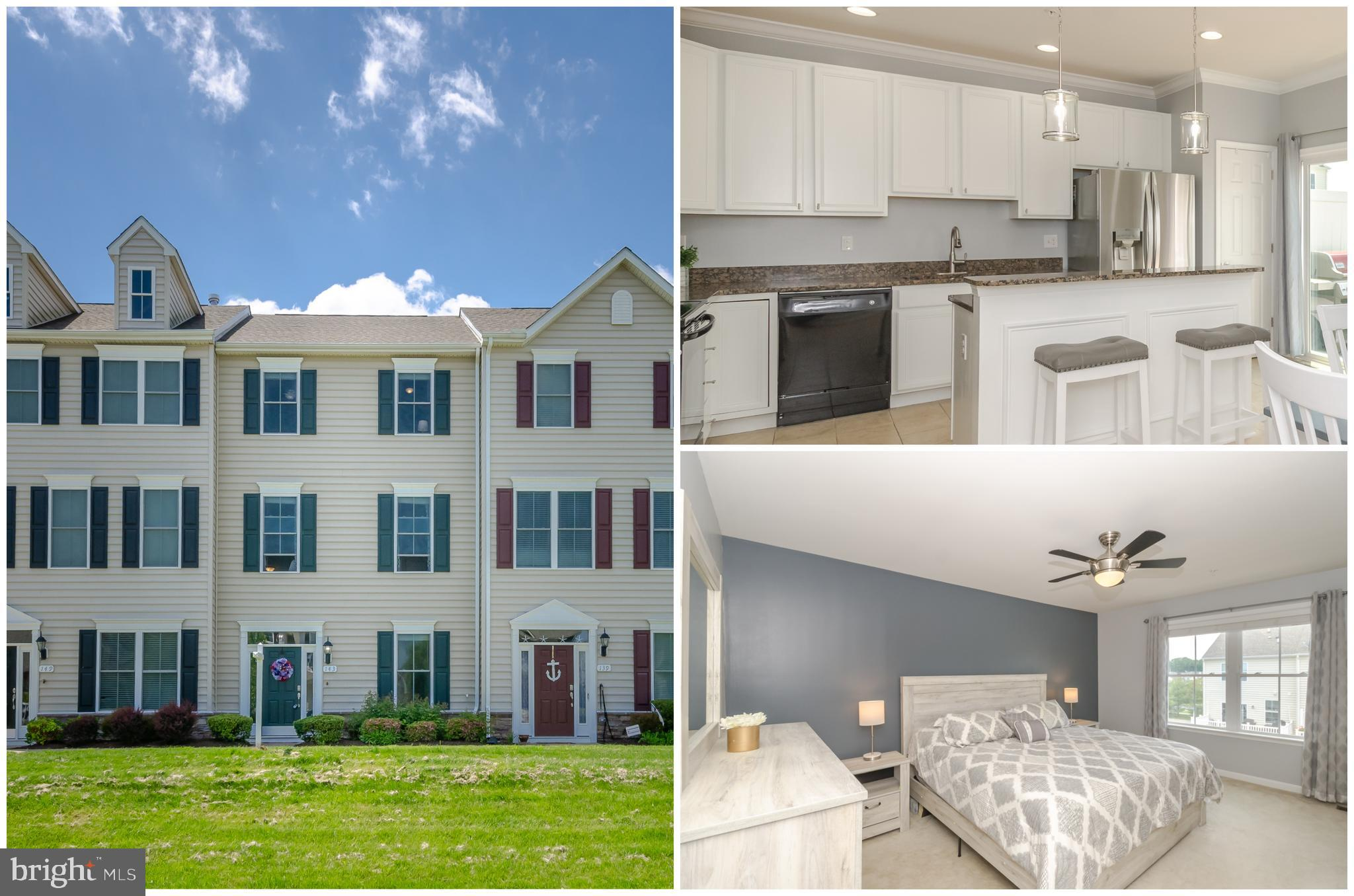 UNDER CONTRACT - OPEN HOUSE CANCELED! Don't wait for new construction - this sought after Ellendale Townhome with 4 Bedrooms + 3.5 FULL Baths is ready for you to move in and enjoy NOW!! You're going to fall in love with the details that not only make this home turn key, but also feel high end!  The moldings will catch your eye as soon as you walk in, the upgraded flooring can be found throughout, the white kitchen cabinets in the kitchen offer tons of storage plus there is huge island, the granite makes it feel gourmet, the light fixtures have been updated offering a modern tone, the 4th Bedroom with it's own full bath is perfect for guests, an office or au pair suite. Need storage? Wait until you see all the built ins found in the 2 car garage. The Ellendale Community is conveniently located at the first exit off the Chesapeake Bay Bridge, just minutes to shopping, waterfront dining, parks, beaches and trails. Do not wait! It's time to make THE SHORE HOME.