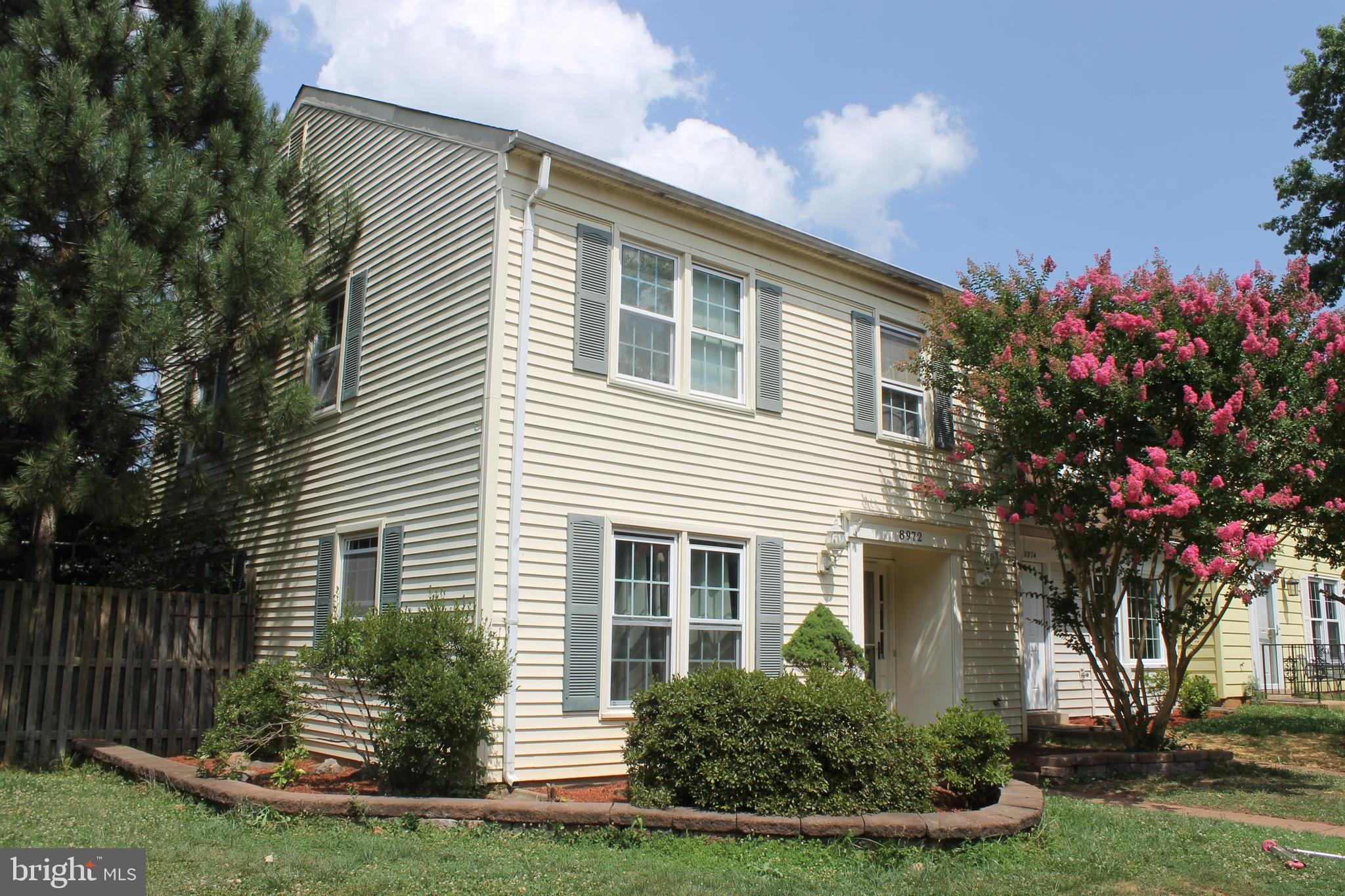 Two level end unit townhome available in Manassas City. Additional photos coming. Open floor plan from family room to dining room. Fenced in yard with California roof over stone patio. Master bedroom with private bath on upstairs level. Close to VRE, I66 & shopping.