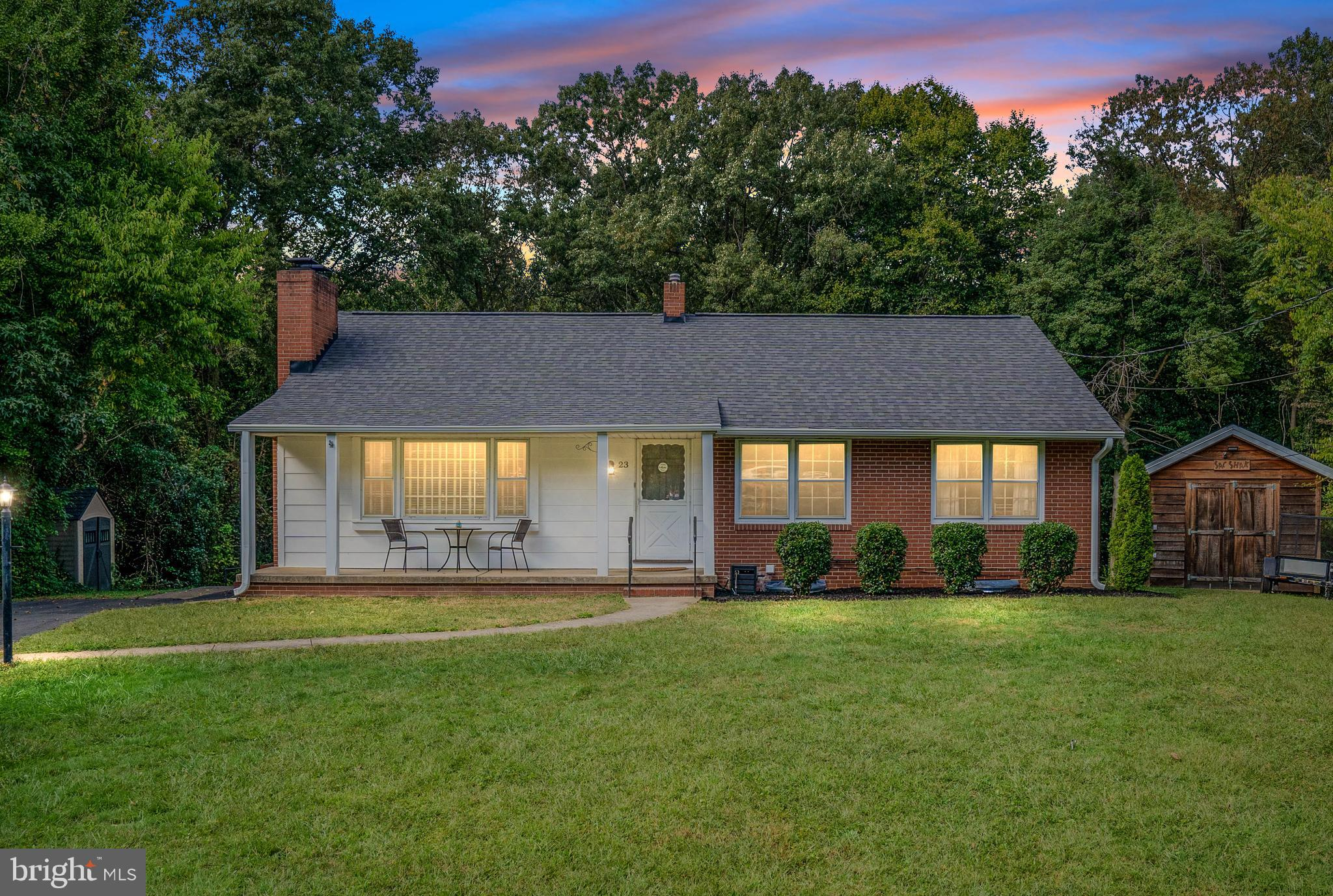 Are you dreaming of a picturesque home in a cul-de-sac, in one of the most desirable neighborhoods in South Stafford?  How about a home that blends the upgrades and renovations that you desire but still offers you the chance to make this classic brick beauty your own? Look no further b/c this is the one! This stunning brick rambler has been refreshed with a brand new roof, new HVAC, completely renovated primary bedroom and bathroom, granite counters, and other thoughtful renovations throughout. Perfectly placed on an absolutely gorgeous .82 acre lot in Ferry Farms. The huge front yard is ready for a fall evening porch sittin' & sippin' hot apple cider or watching the neighborhood kids play. Offering 4 bedrooms and 2 baths there is ample space throughout w/ approx. 1,350 sq ft of main level living, and almost equivalent square footage in the renovated lower level featuring luxury vinyl plank flooring.  The primary bedroom and bathroom located in the basement have been completely renovated and are a perfect retreat! There is a large utility room equipped with storage and a workspace.  There are 2 wood burning fireplaces, loads of charm throughout, original hardwoods, backyard patio and firepit, large 'man-shed' with electricity.  The private lot backs to woods that offer  park-like views from the kitchen, back bedroom, and dining area. They really don't make them like this anymore, in a neighborhood rich in history and rooted in community. Ferry farms is convenient to the VRE, schools, shopping, and historic Downtown Fredericksburg! This stunning home is priced well and will not be on the market long….make it yours today!