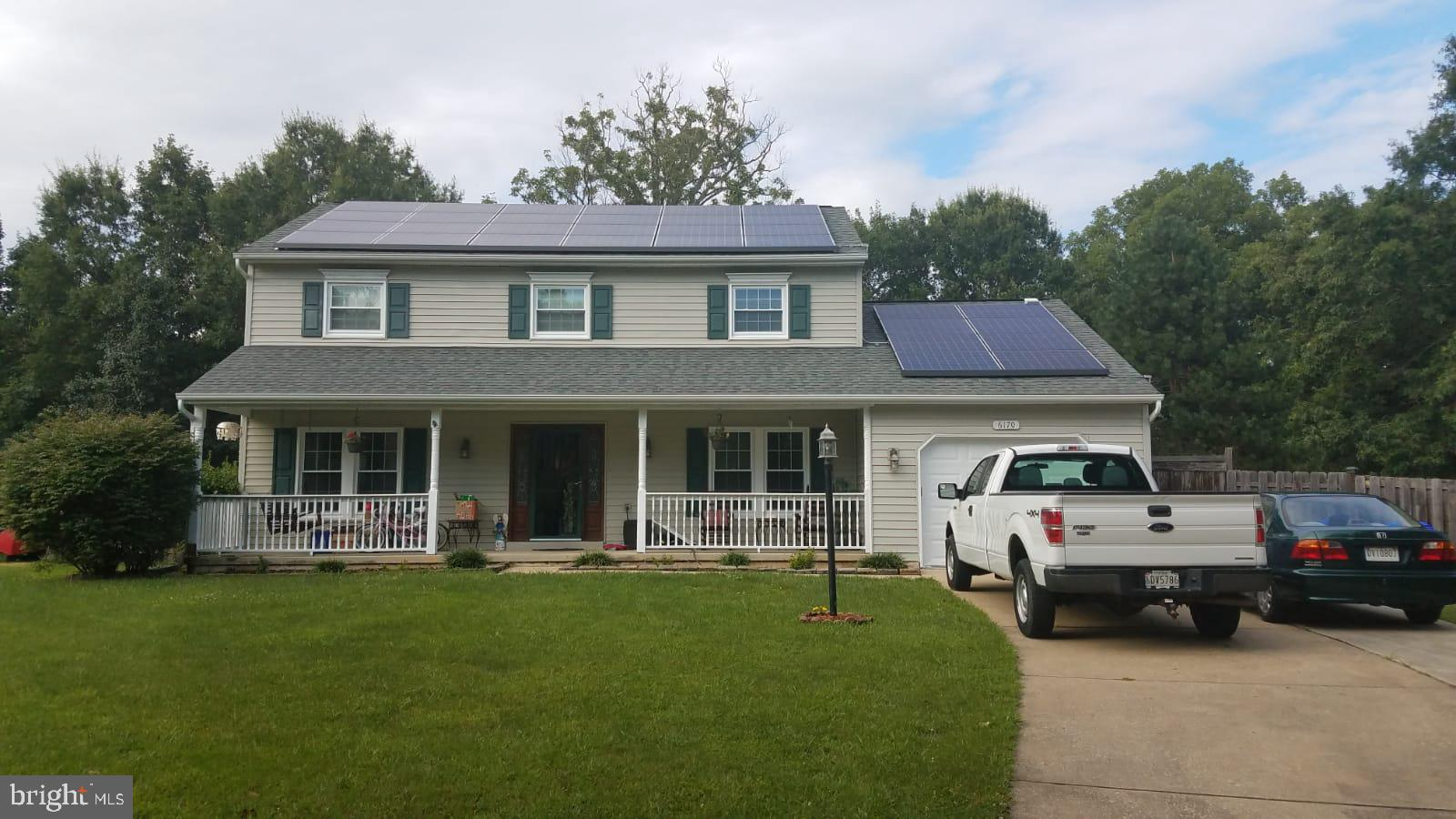 Cozy two-level Colonial on Cul de Sac in ST CHARLES-Hampshire Neighborhood. The main level of this home offers a  spacious family room with a wood-burning fireplace, Kitchen, and Dining area with Hardwood Flooring, Living Room, and Powder Room. The upper level of this home offers a Master Bedroom with Master Bath, a walk-in closet and W/W carpeting, 2 additional bedroom spaces, and a full hall bath. Enjoy sitting outside on your deck in the privacy of your fenced-in rear yard. SOLAR PANELS-LEASED(TESLA)