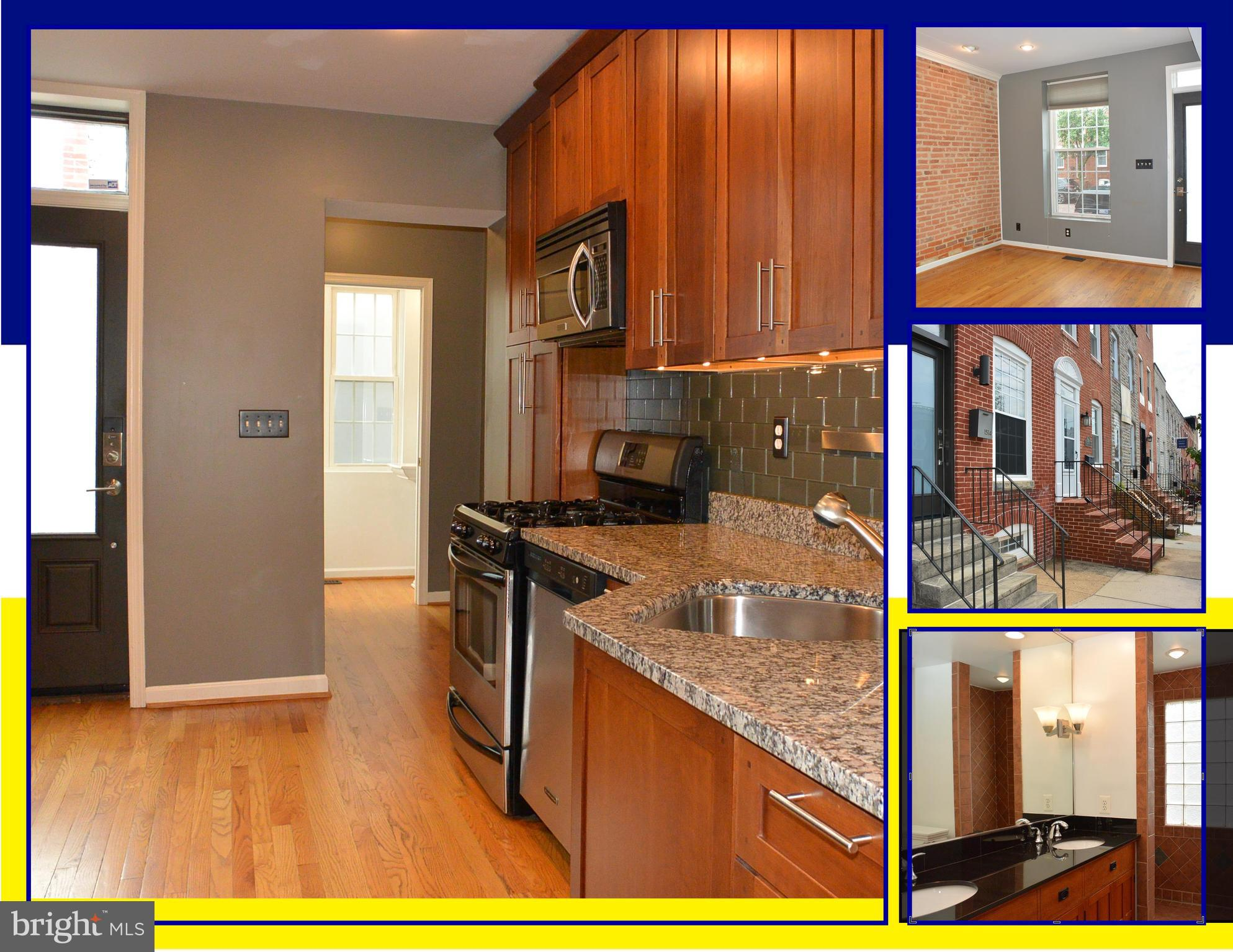 ARCHITECT-DESIGNED RENOVATION IN POPULAR LOCUST POINT. 3BR/2.5BA END-OF-GROUP TOWNHOUSE. ABUNDANT NA