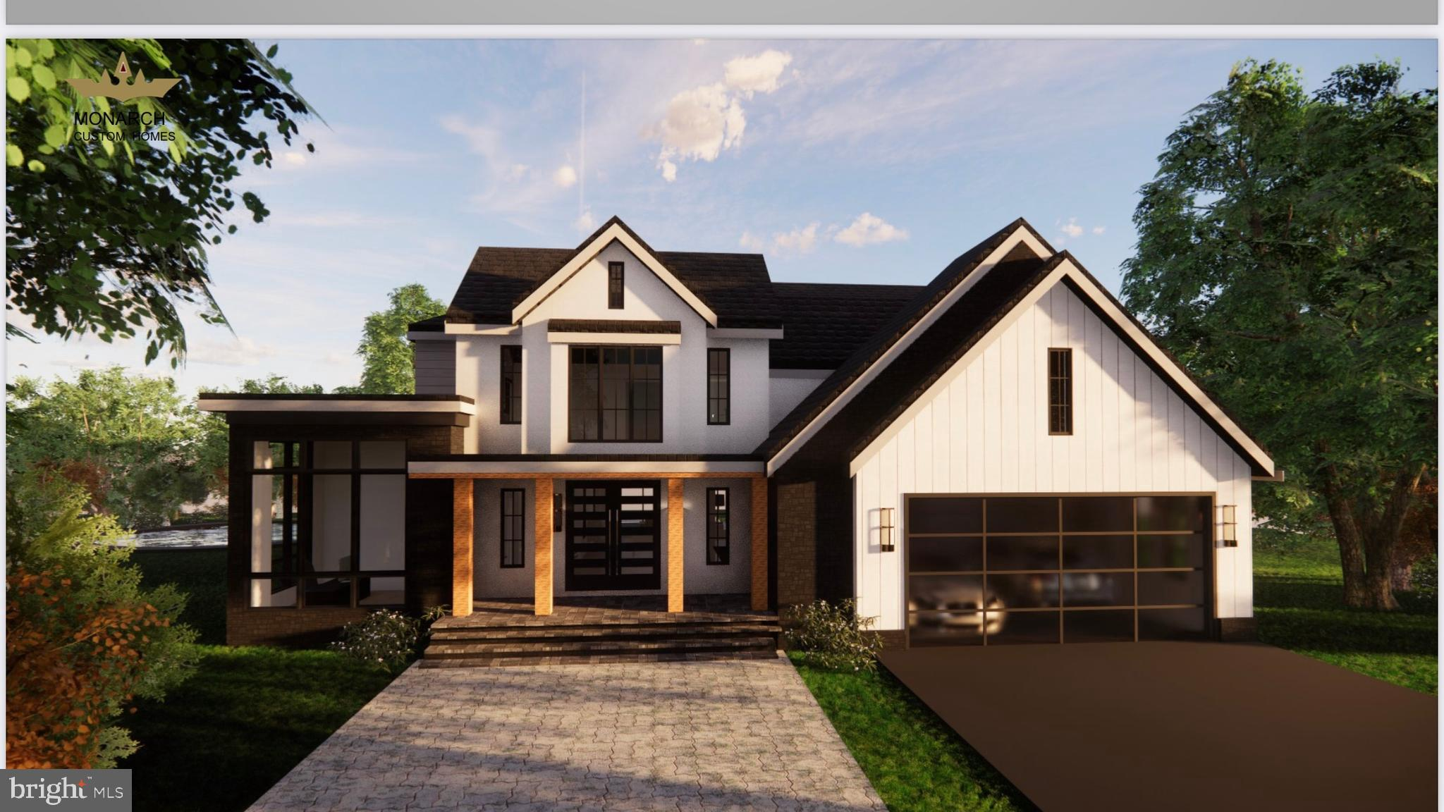 A Spectacular Modern Farmhouse by Monarch Construction will be built at the end of this quiet cul-de