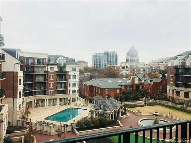 Welcome home to Fifth & Poplar.  Great location for all that Uptown Charlotte has to offer.  Walk to restaurants, nightlife, theater, and more.  Harris Teeter groceries are an elevator ride below you in the same building.  Open floor plan with vinyl plank in living areas - no carpet.  2 BR / 2 Bath, 3 ceiling fans, kitchen w/bar eating area, refrigerator/washer/dryer do convey.  Amenities include:  24 hour concierge, secure entry, business center, pool, fitness center, coffee bar, billiards, putting green, media room, and much more!!  Unit includes an interior storage unit and a storage bin in the garage.
